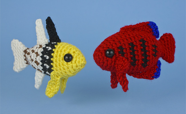 Free Amigurumi Fish Pattern : Tropical fish set two amigurumi fish crochet patterns