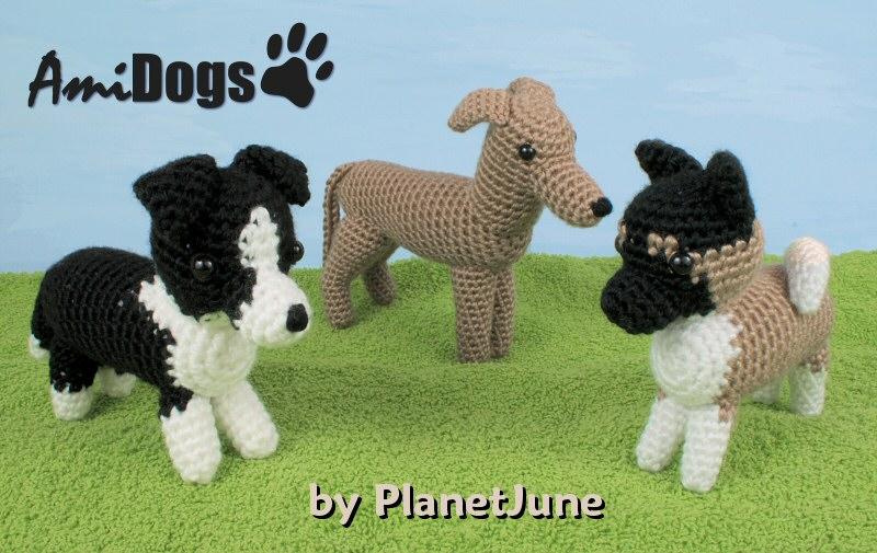 Border Collie Knitting Pattern : AmiDogs Set 6 - THREE amigurumi crochet patterns : PlanetJune Shop, cute and ...