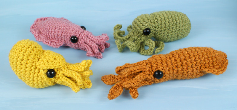 Baby Cephalopods 1 and 2 - FOUR amigurumi crochet patterns ...