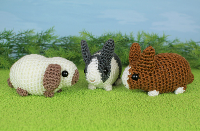 Amigurumi Guinea Pig : Baby bunnies three expansion pack amigurumi crochet patterns