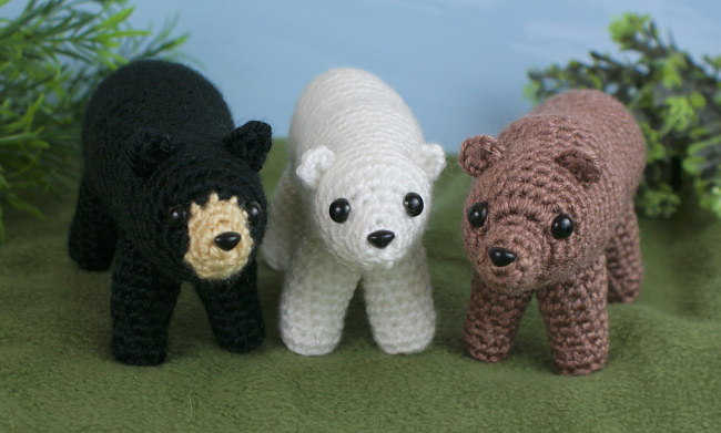 Black Brown Polar Bears Three Amigurumi Crochet Patterns