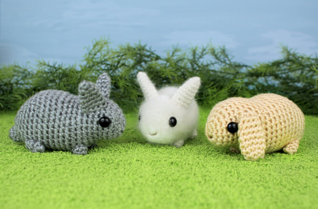 Baby Bunnies Three Amigurumi Bunny Crochet Patterns PlanetJune Extraordinary Crochet Rabbit Pattern