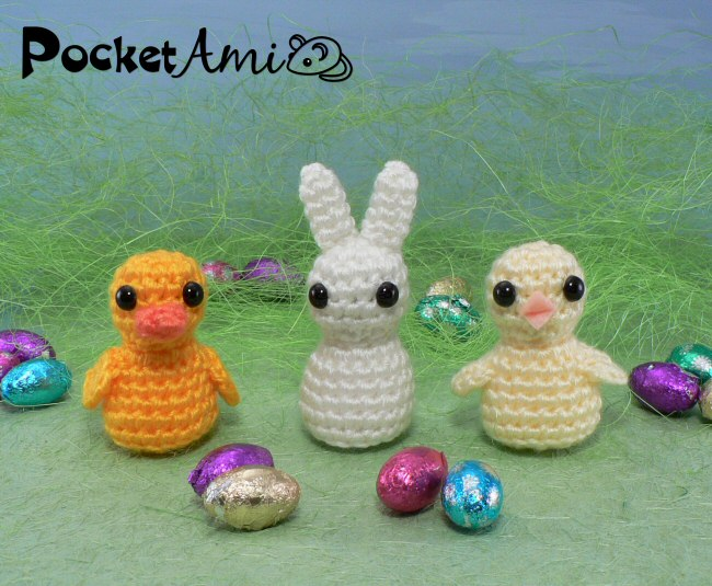 Amigurumi Easter Patterns : PocketAmi Set 5: Easter - three amigurumi crochet patterns ...
