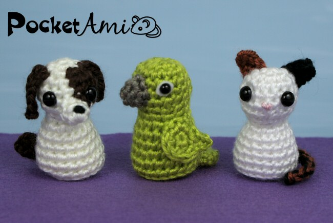 Amigurumi Kitten Patterns : Pocketami set pets three amigurumi crochet patterns