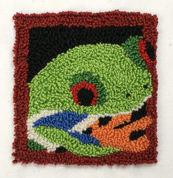 Punchneedle Embroidery Pattern: Red-Eyed Tree Frog