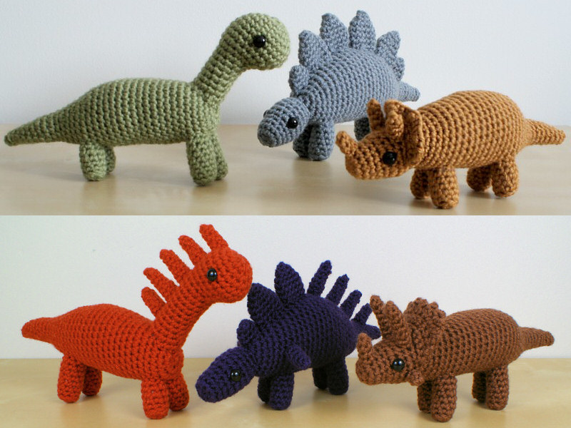 Dinosaurs Sets 1 1x Six Amigurumi Crochet Patterns Planetjune