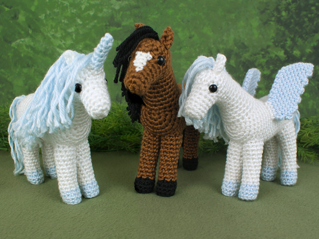 Horse Unicorn And Pegasus Three Amigurumi Crochet Patterns Xc012