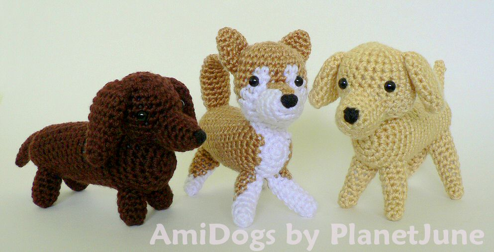 Amidogs Set 1 Three Amigurumi Crochet Patterns Planetjune Shop