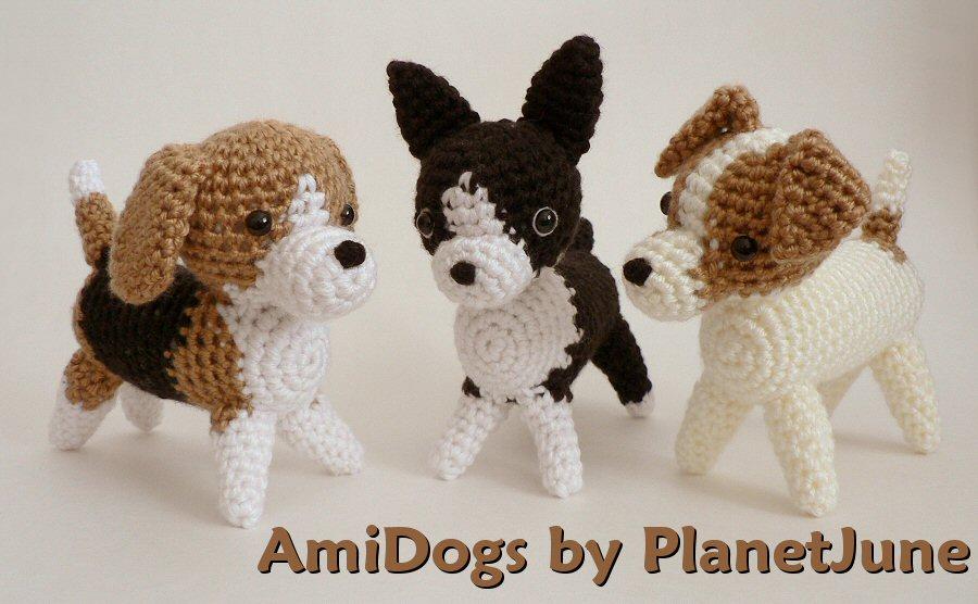 Amigurumi Jack Russell Pattern : Amidogs set three amigurumi crochet patterns planetjune shop