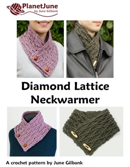 Diamond Lattice Neckwarmer crochet pattern : PlanetJune Shop, cute ...