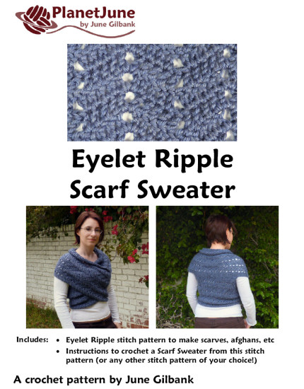 Eyelet Ripple Scarf Sweater DONATIONWARE crochet pattern - Click Image to Close