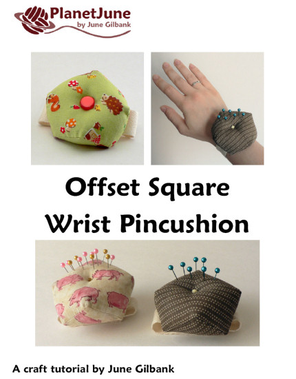 Offset Square Wrist Pincushion DONATIONWARE craft tutorial - Click Image to Close
