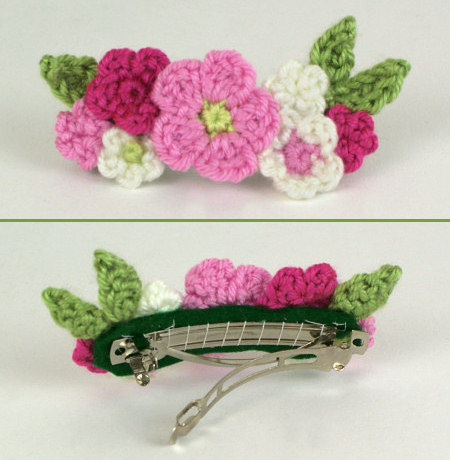 crocheted posy barrette by planetjune