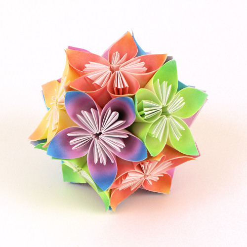 Kusudama Flowers DONATIONWARE paper craft tutorial - Click Image to Close