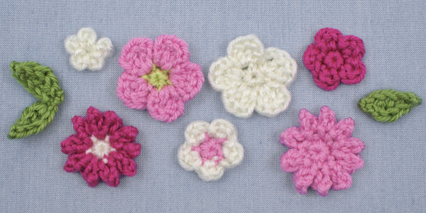 Posy Blossoms DONATIONWARE flowers and leaves crochet pattern - Click Image to Close