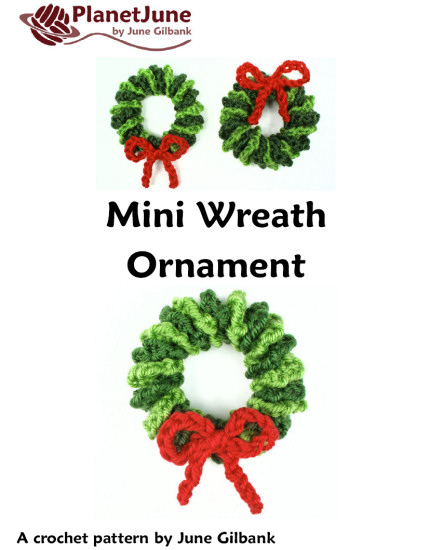 Mini Wreath Ornament DONATIONWARE crochet pattern - Click Image to Close