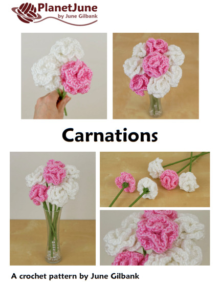 Carnations DONATIONWARE flower crochet pattern - Click Image to Close