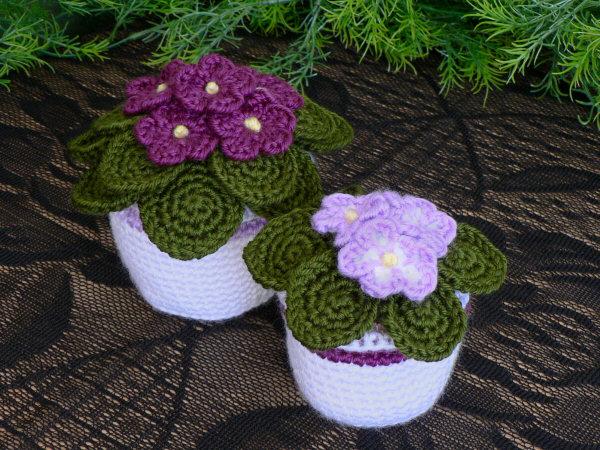 african violets crochet pattern larger image - African Violets