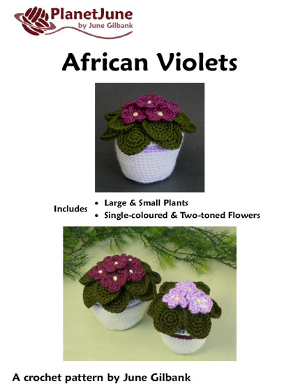 African Violets crochet pattern - Click Image to Close