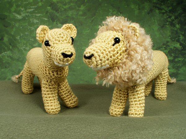 Crochet Amigurumi Lion Patterns : Lion and lioness amigurumi crochet pattern : planetjune shop cute
