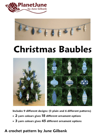 Christmas Baubles crochet pattern: 9 ornament designs - Click Image to Close