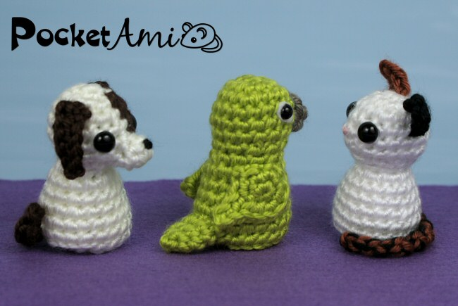 Pocketami Set 6 Pets Three Amigurumi Crochet Patterns