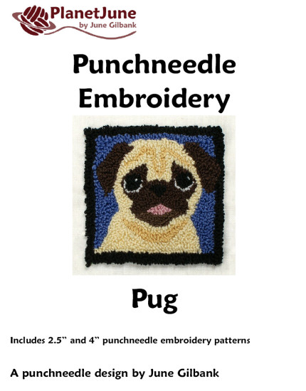Punchneedle Embroidery Pattern: Pug - Click Image to Close