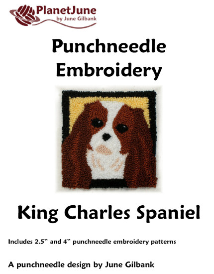 Punchneedle Embroidery Pattern: King Charles Spaniel - Click Image to Close
