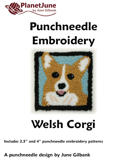 Punchneedle Embroidery Pattern: Welsh Corgi - Click Image to Close
