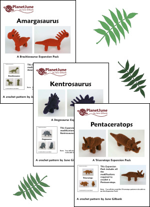 Dinosaurs Sets 1 & 1X - SIX amigurumi crochet patterns - Click Image to Close