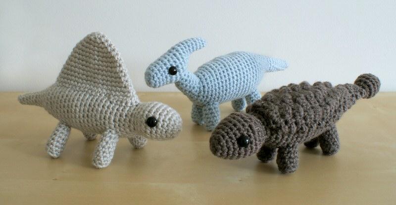 Amigurumi Dinosaur Free Pattern : Dinosaurs sets 3 & 3x six amigurumi crochet patterns : planetjune