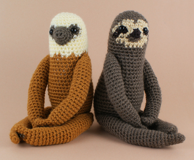 Three-Toed and Two-Toed Sloths - TWO amigurumi crochet patterns - Click Image to Close